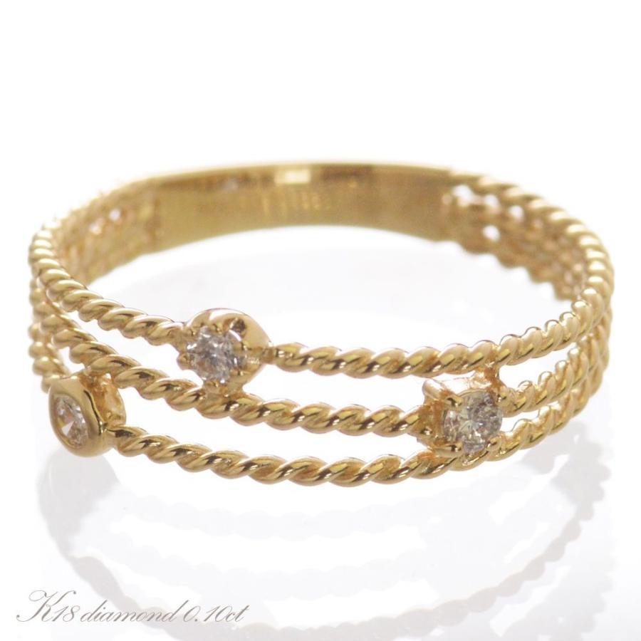 品多く K18 ダイヤモンド ツイスト アーム リング 3連, シタダムラ b099d511