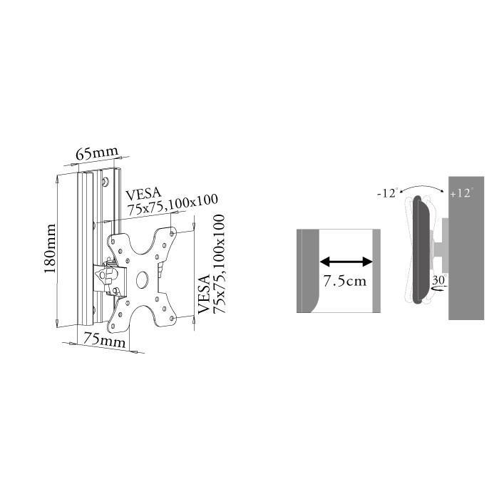 壁掛けテレビ テレビ台 DIY/12-26型TV/角度調節付/VESA - LCD-ACE-300 テレビ TV 壁掛け 壁掛け金具 壁掛金具|ace-of-parts|08