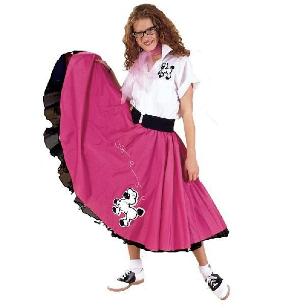 レディース スカート 50's プードルスカート ピンク/白 大人用 女性 コスチューム 大きいサイズ あり