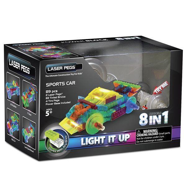 サイエンストイ 科学おもちゃ レーザーペグ LEDで光るブロック 8種類のスーパーカーキット