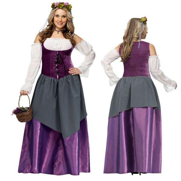 中世 古代 田舎 お姫様 女性用 大きいサイズ コスチューム 仮装 コスプレ ハロウィン