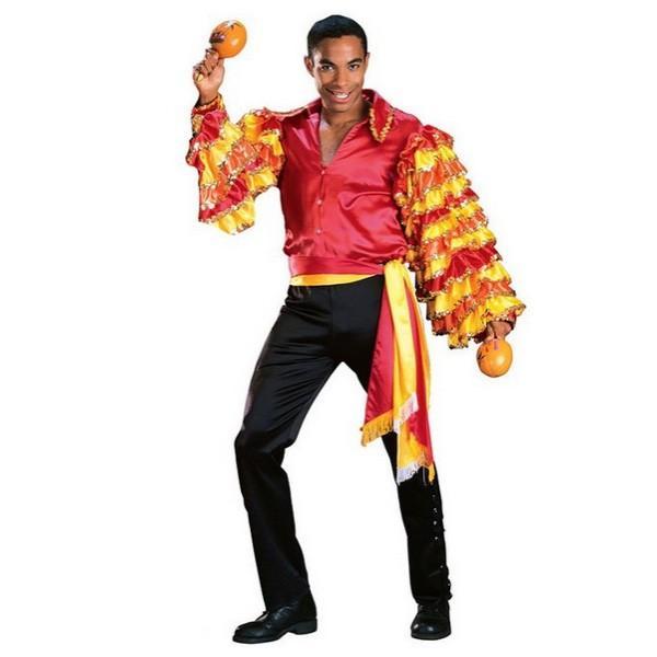 ルンバ 大人 男性用 サンバ コスチューム レッド オレンジ ハロウィン 衣装 ダンサー コスプレ