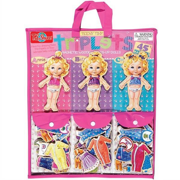 着せ替え人形 ちっちゃな三つ子の女の子 木製マグネット着せ替えドールのセット 知育玩具 T.S.Shure社製 木のおもちゃ プレイセット
