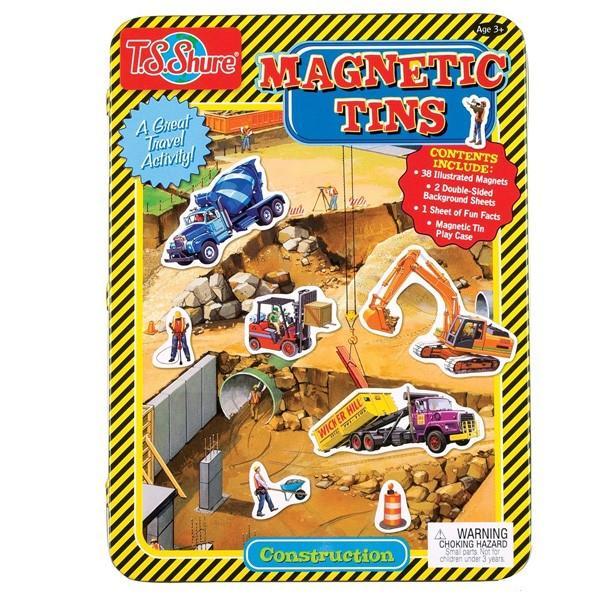 工事現場のマグネットセット 49ピース入り 缶入り T.S.Shure社製 知育玩具 プレイセット おもちゃ