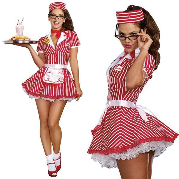 50年代 ウェイトレス 制服 セクシー コスチューム コスプレ オールディーズ レトロ 50's ファミレス 仮装 衣装 大人 女性