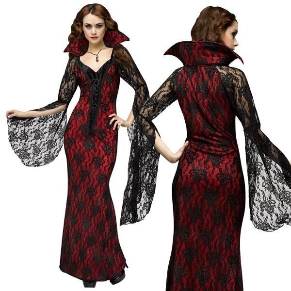 ドラキュラ 吸血鬼 大人 女性用 レース ドレス コスチューム ハロウィン バンパイア コスプレ パーティー 舞台 劇 行事 衣装 祭り