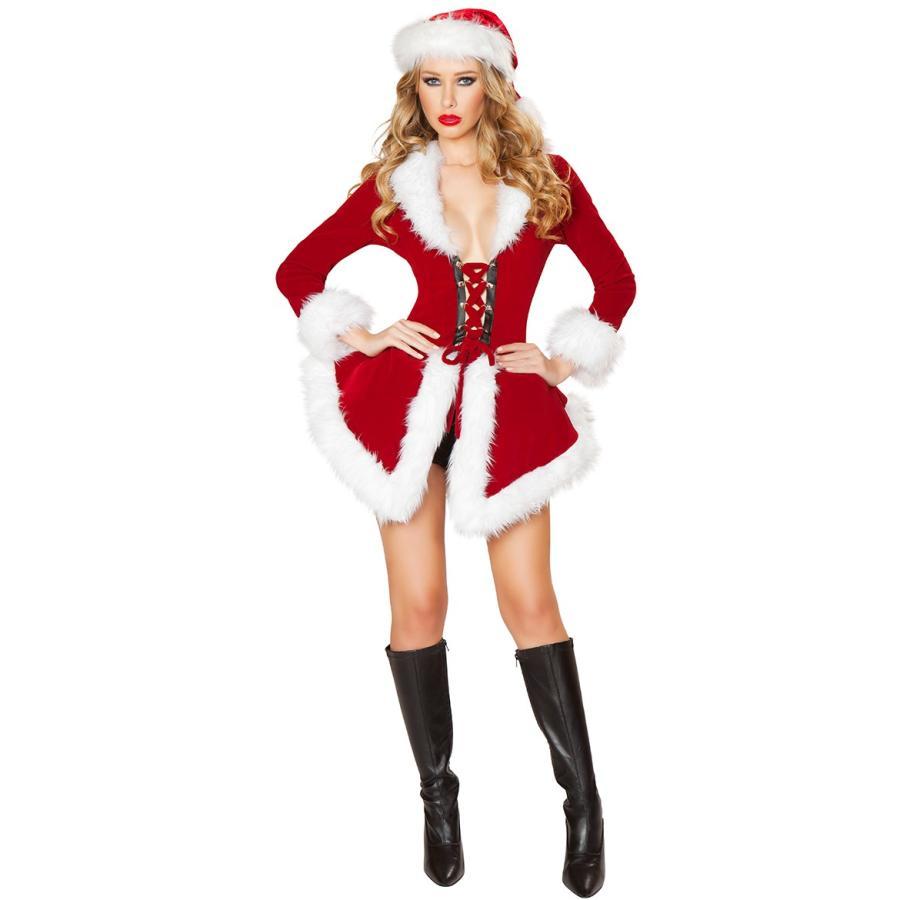 サンタ コスプレ セクシー レディース コスチューム サンタクロース クリスマス フレアスカート コート ショーツ付 ダンサー ダンス 衣装 仮装 大人 女性