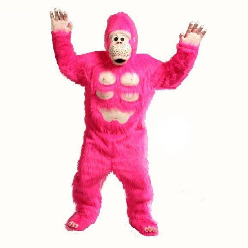 ゴリラ 着ぐるみ ピンク コミック 大人用 コスチューム ジャングル マスコット