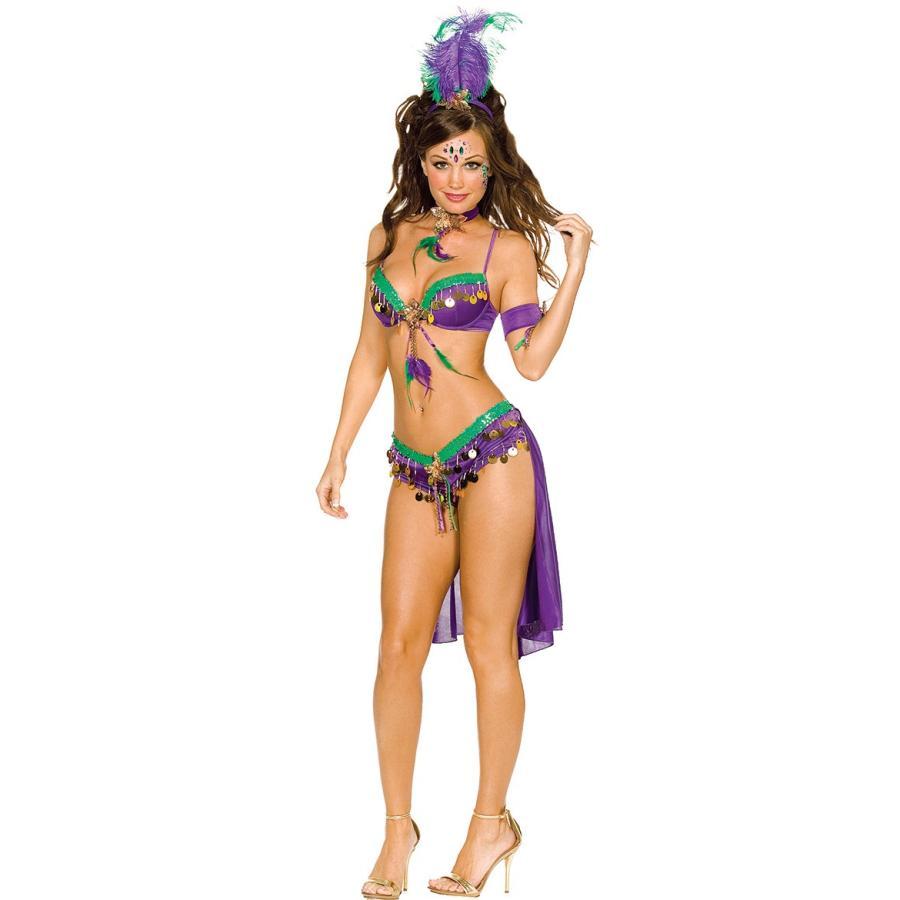 マルディグラ 衣装 セクシークイーン 紫/緑 リオ カーニバル コスチューム ダンス 仮装 コスプレ ビキニ