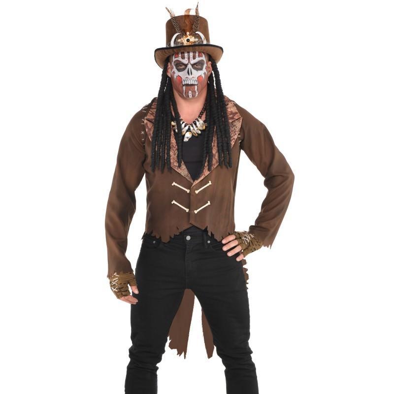 ブードゥー教 コスチューム ジャケット 茶色 大人 メンズ コスプレ 仮装 ハロウィン 魔法使い 宗教