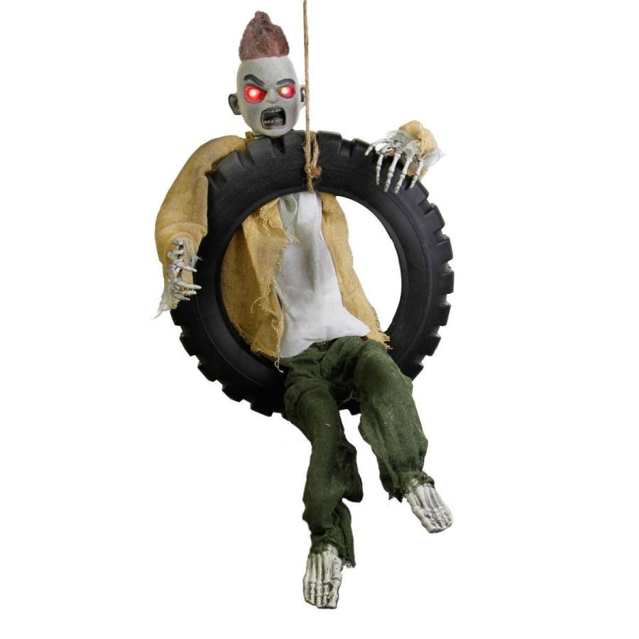 動く ゾンビ 人形 タイヤに吊るされた ハロウィン デコレーション インテリア 怖い 飾り 装飾 置き物 ホラー グッズ