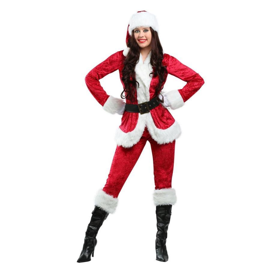 サンタクロース コスチューム レディース コスプレ 長袖 長ズボン 大きいサイズ 衣装 クリスマス 仮装 海外