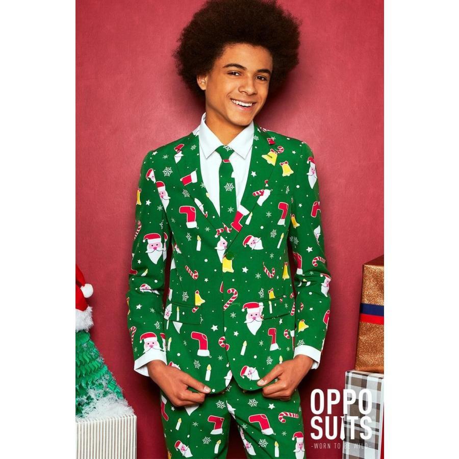 コスプレ 子供 衣装 男の子 人気 Opposuits オッポスーツ 中学生 SANTABOSS 緑 クリスマス 総柄 パーティ 仮装 コスチューム ファンシースーツ