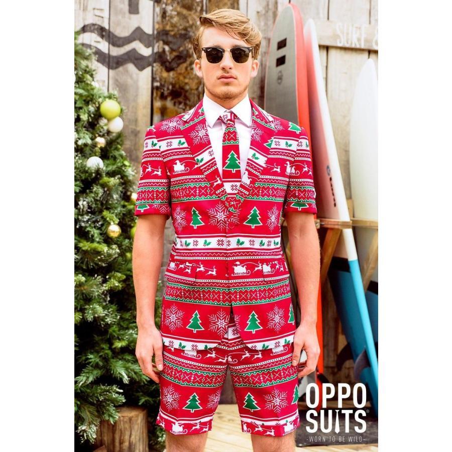 Opposuits オッポスーツ クリスマス 赤 夏 サマー 半袖 ショーツ 総柄 派手 ファンシースーツ パーティ コスプレ 仮装 コスチューム