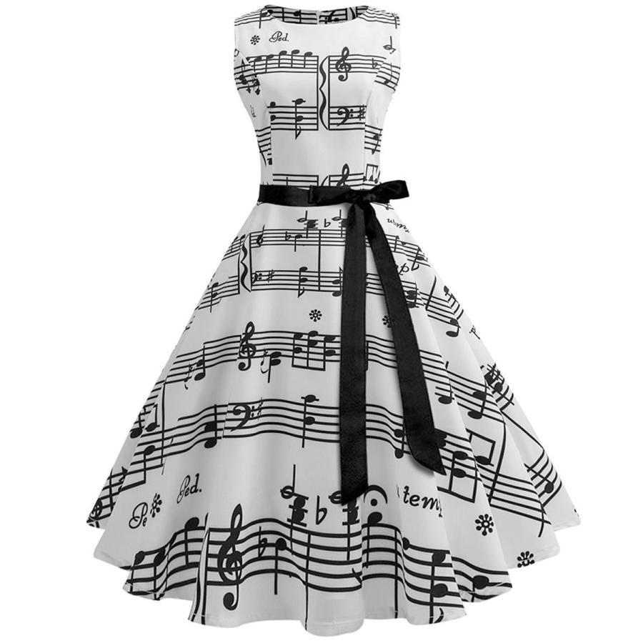 総柄 ドレス 音符 ノースリーブ 白 スウィングドレス 50年代 ヴィンテージ 大人 女性 レディース 音楽 発表会 目立つ 派手|acomes
