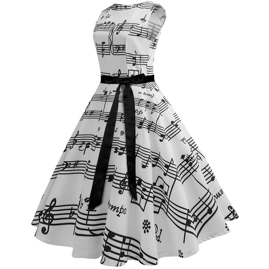 総柄 ドレス 音符 ノースリーブ 白 スウィングドレス 50年代 ヴィンテージ 大人 女性 レディース 音楽 発表会 目立つ 派手|acomes|02