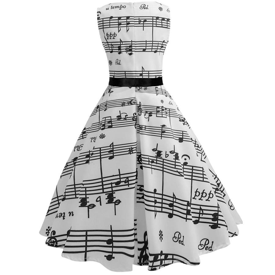総柄 ドレス 音符 ノースリーブ 白 スウィングドレス 50年代 ヴィンテージ 大人 女性 レディース 音楽 発表会 目立つ 派手|acomes|03