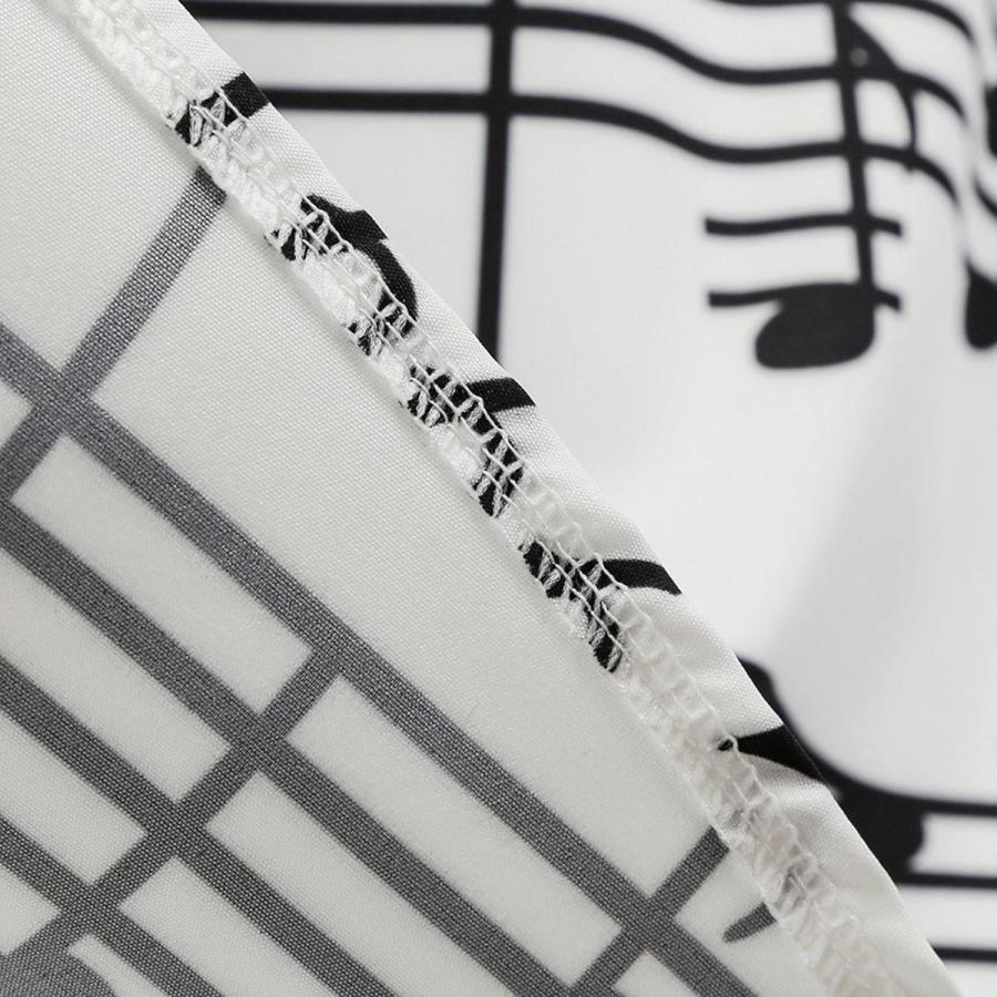 総柄 ドレス 音符 ノースリーブ 白 スウィングドレス 50年代 ヴィンテージ 大人 女性 レディース 音楽 発表会 目立つ 派手|acomes|05