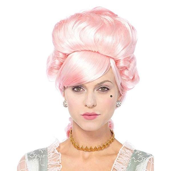 マリーアントワネット かつら ウィッグ 髪の毛 ライトピンク 大人用 コスプレ レディース 貴族 中世 ヨーロッパ 王妃 演劇 舞台 仮装 変装 小道具