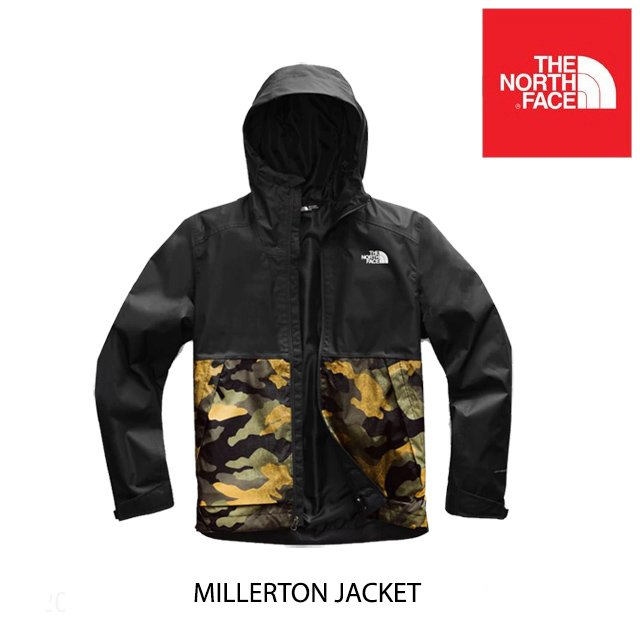 2019 THE NORTH FACE ザ ノースフェイス ジャケット MILLERTON JACKET FE7 BURNT OLIVE GREEN WAXED CAMO PRINT/TNF BLACK