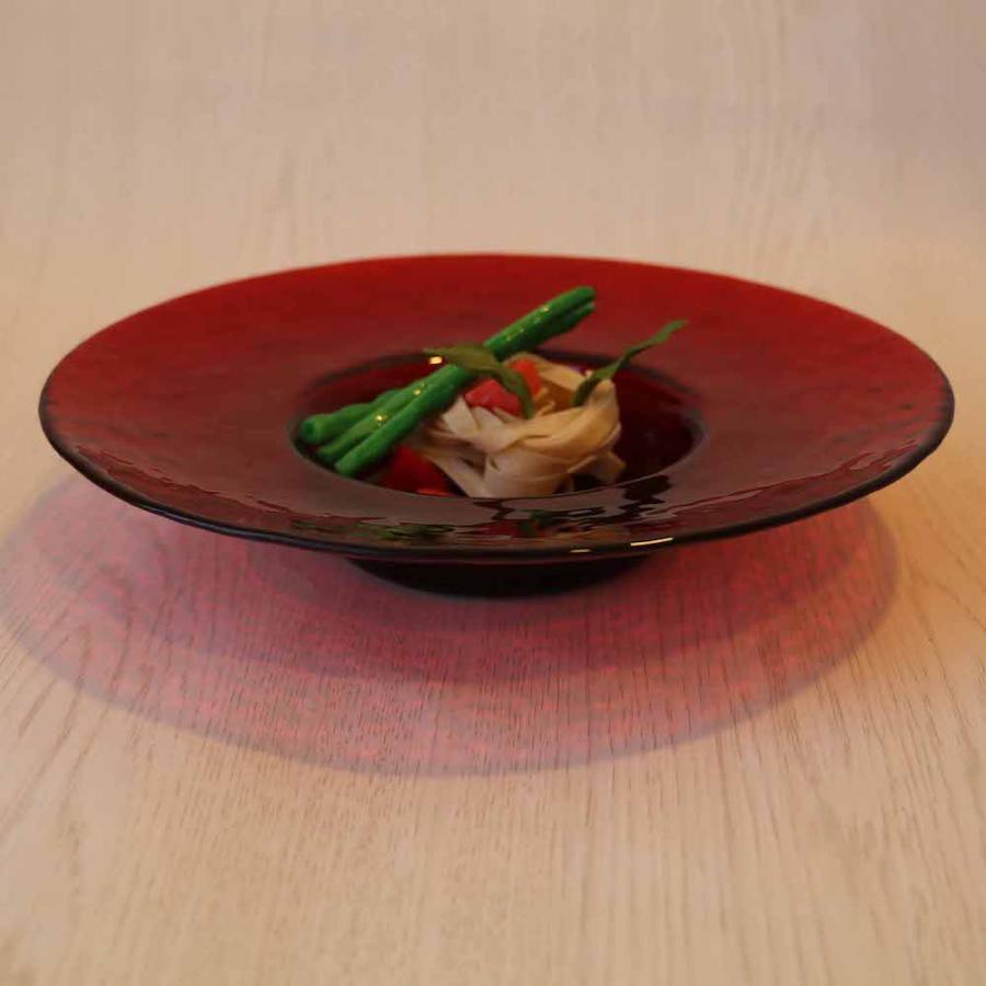 アデリア プレート 皿 食器 お皿 大皿 パスタ皿 デザートプレート ガラスプレート サラダプレート リムレットアラカルト 赤 24cm 3枚入