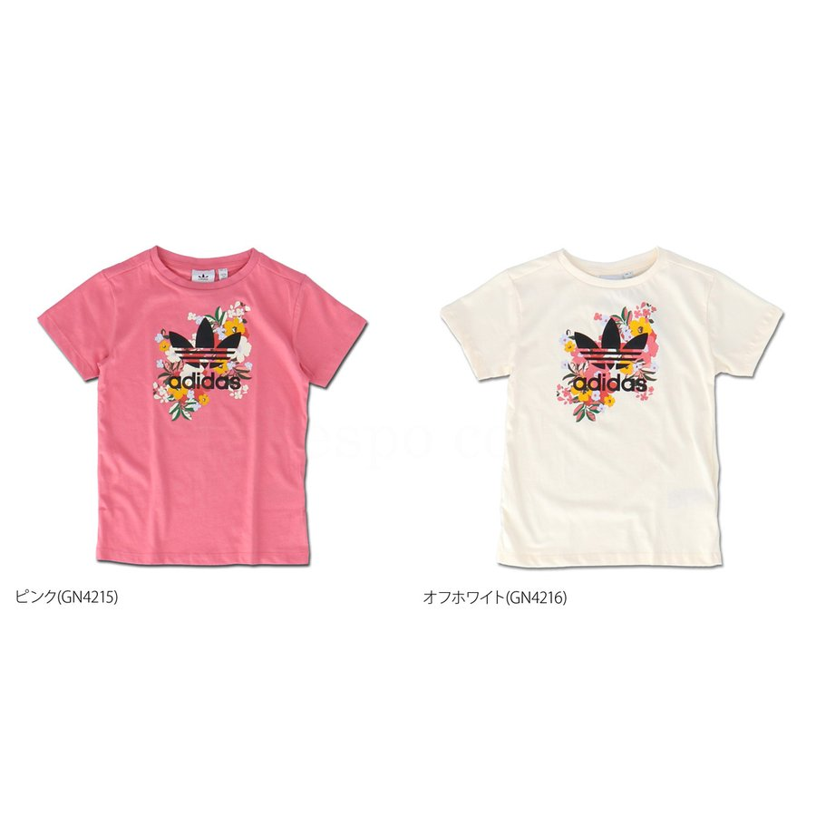 アディダス オリジナルス Tシャツ ガールズ 上 adidas originals 三つ葉 トレフォイル ビッグロゴ 花柄 フローラル 半袖 30746 送料無料 SALE セール|adistyle|02