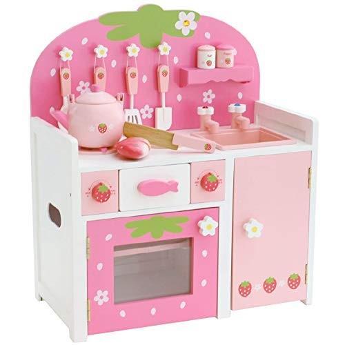 マザーガーデン おままごと 野いちご つぶつぶ ピンク グリル キッチン 〔木製 キッチンセット 調理器具10点〕 女の子 お料理ごっこ 完成品 99
