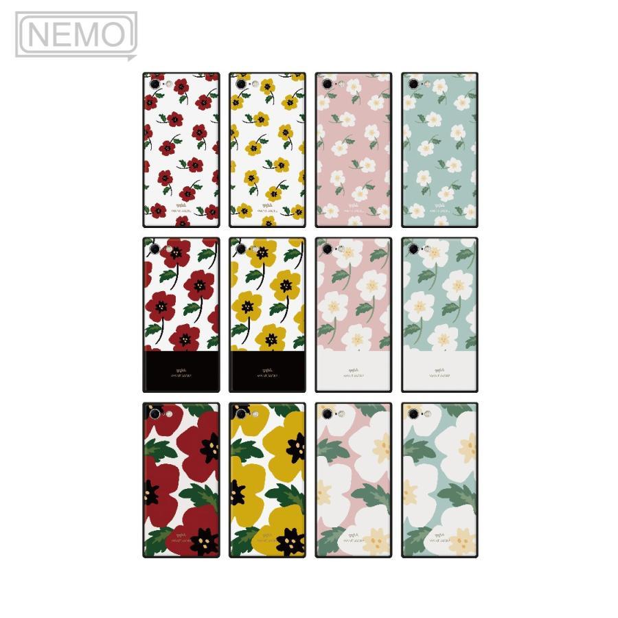 iPhone12 ケース 韓国 iPhone SE ケース iPhone11 ケース iPhoneケース iPhone12 mini ケース iPhone8 ケース iPhone12 Pro ケース ガラス スクエア 花柄 NEMO advan 06
