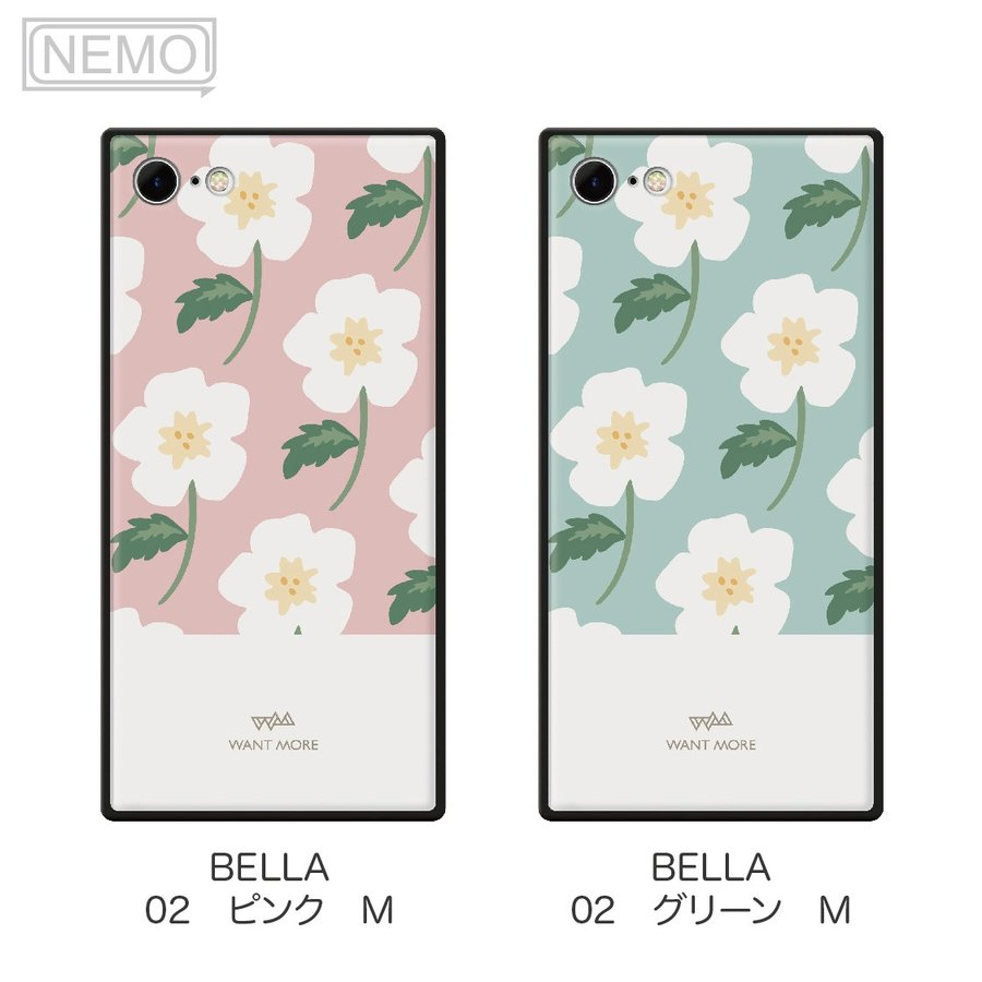iPhone12 ケース 韓国 iPhone SE ケース iPhone11 ケース iPhoneケース iPhone12 mini ケース iPhone8 ケース iPhone12 Pro ケース ガラス スクエア 花柄 NEMO advan 11