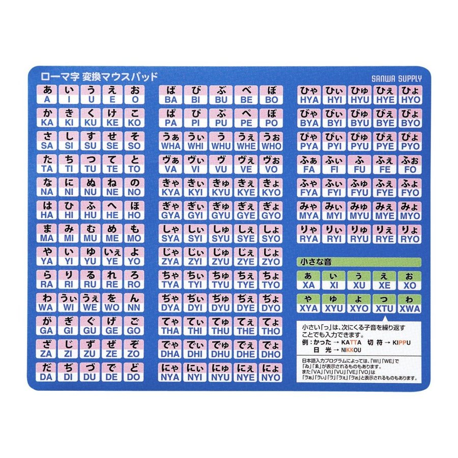 サンワサプライ ローマ字変換マウスパッド MPD-OP17RL8BL|advancedstore
