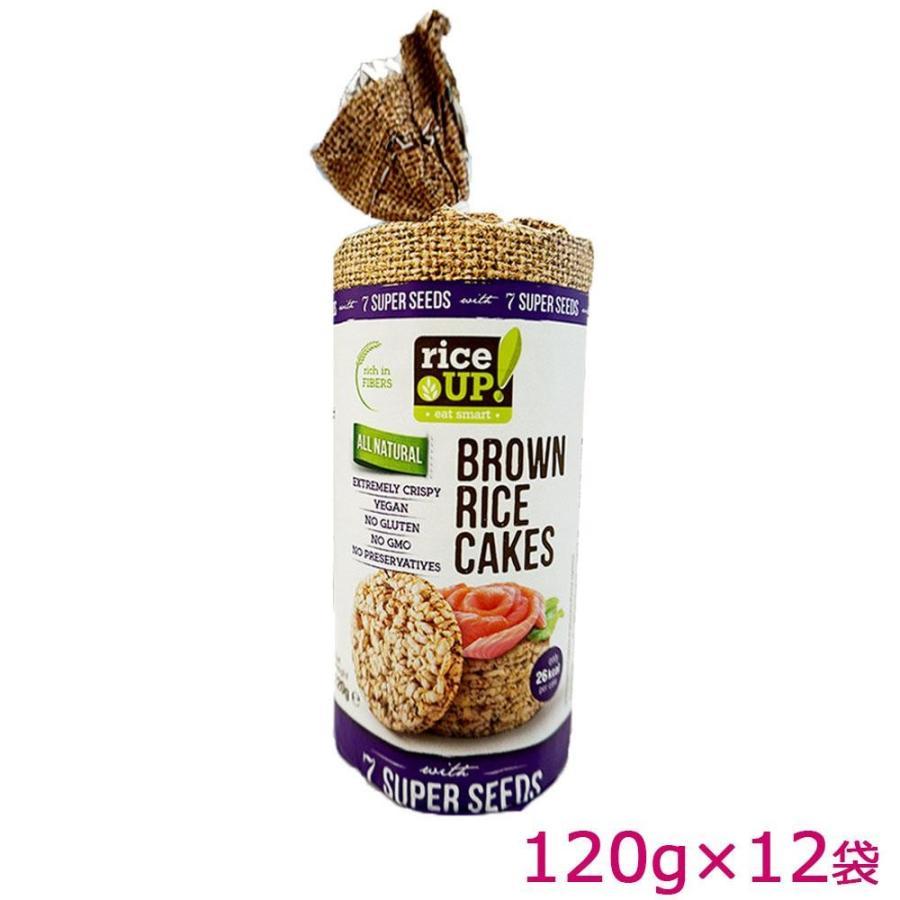 (送料無料)(き)rice UP(ライスアップ) ブラウンライスケーキ(米菓子) セブンスーパーシード 120g×12袋 3800233071542