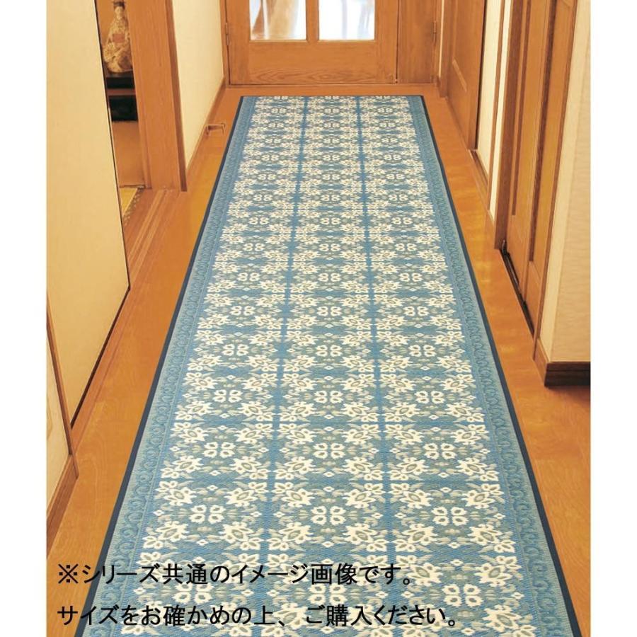 (送料無料)三重織 い草廊下敷 約80×350cm ネイビー TSN340504