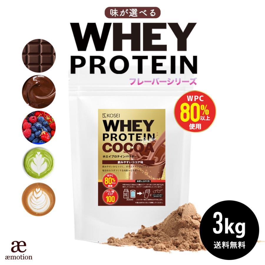 ホエイ プロテイン ココア味 3kg 送料無料 ダイエット 筋肉 大容量 品質保証 トレーニング ※ラッピング ※ タンパク質 アミノ酸 運動 ポイント消化 スコア100