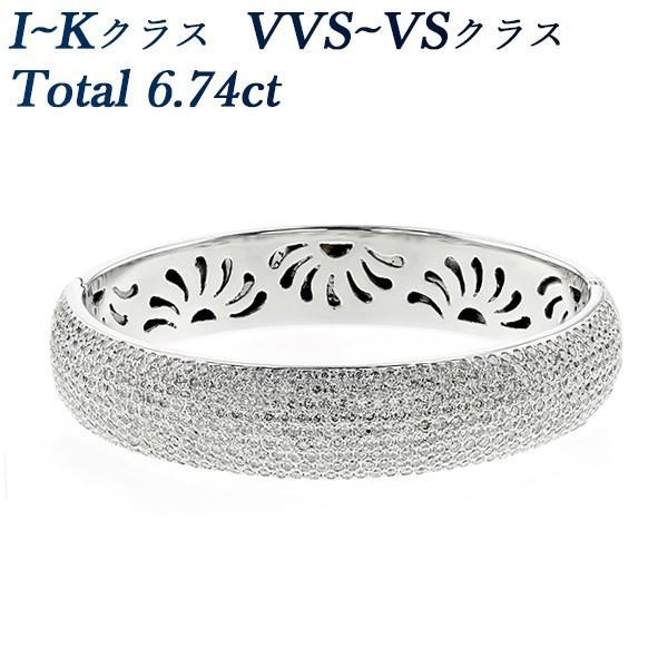 【全品送料無料】 ダイヤモンド バングル 6.74ct(Total) VVS〜VSクラス-I〜Kクラス K18WG 保証書付, fuzzy 0fda460d