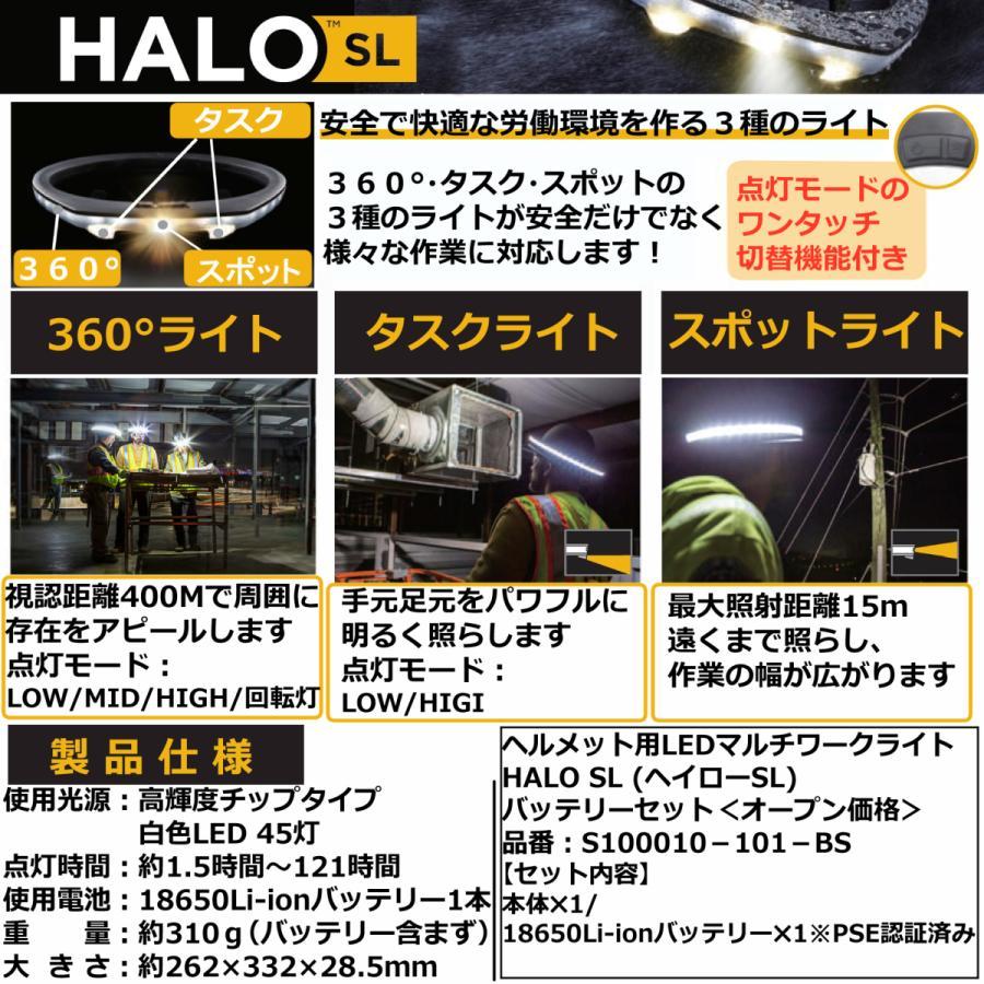 ヘルメット専用 全周型LEDヘッドライト HALO LIGHT SLモデル(本体、バッテリーセット)※1充電器なし ※2 NETIS登録商品 aero-online 03