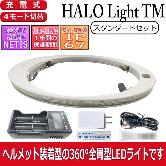 ヘルメット専用 全周型LEDヘッドライト HALO LIGHT TMモデル (本体、バッテリー、充電器セット)※NETIS登録商品|aero-online