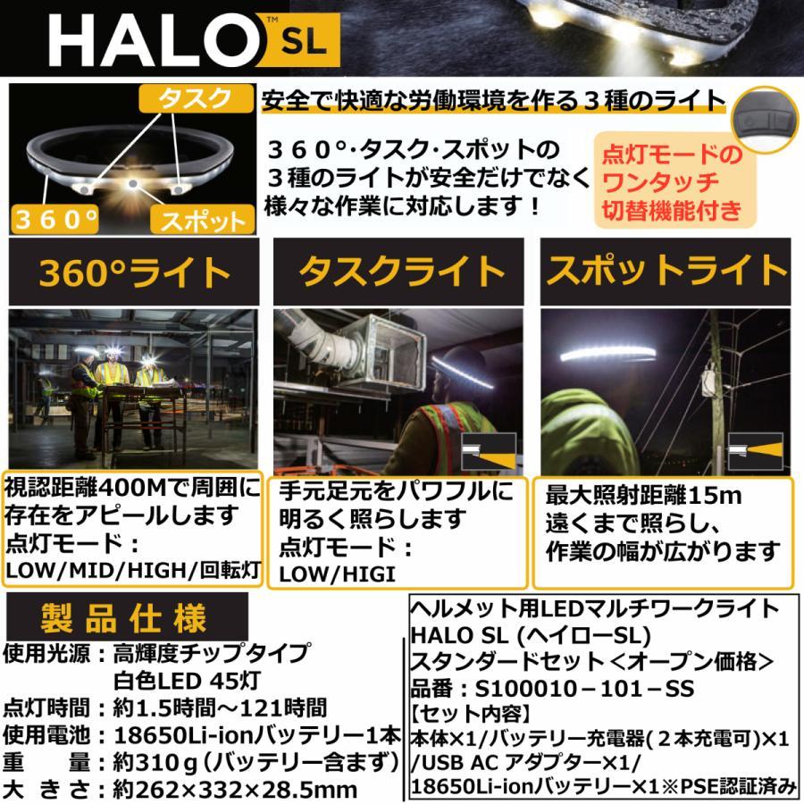 ヘルメット専用 全周型LEDヘッドライト HALO LIGHT SLモデル(本体、バッテリー、充電器セット)※NETIS登録商品|aero-online|03
