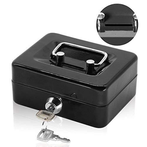 推奨 Jssmst ジェスマット 手提金庫 キーロック式 コインケース 貯金箱 金属製 期間限定今なら送料無料 子供 ギフト NEW 軽量 ミニサイズ 黒 15x12x8cm