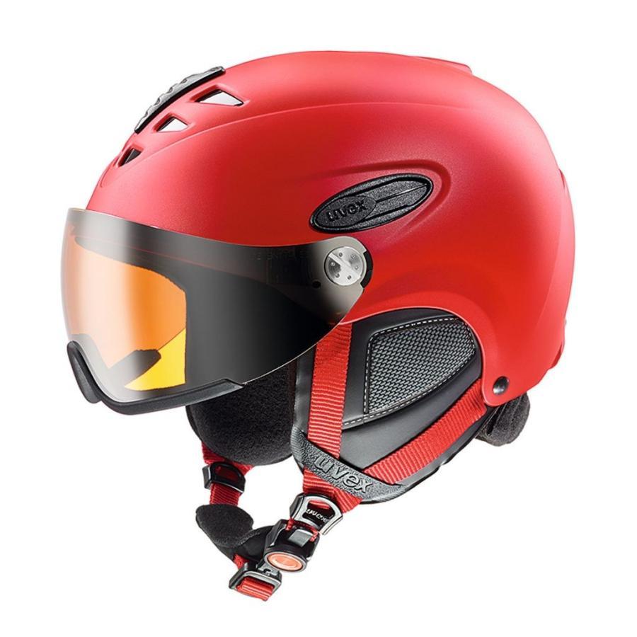 18UVEX hlmt300visor 赤Mat 60-61cm ミラーレンズ 眼鏡の方に最適バイザー付ヘルメット