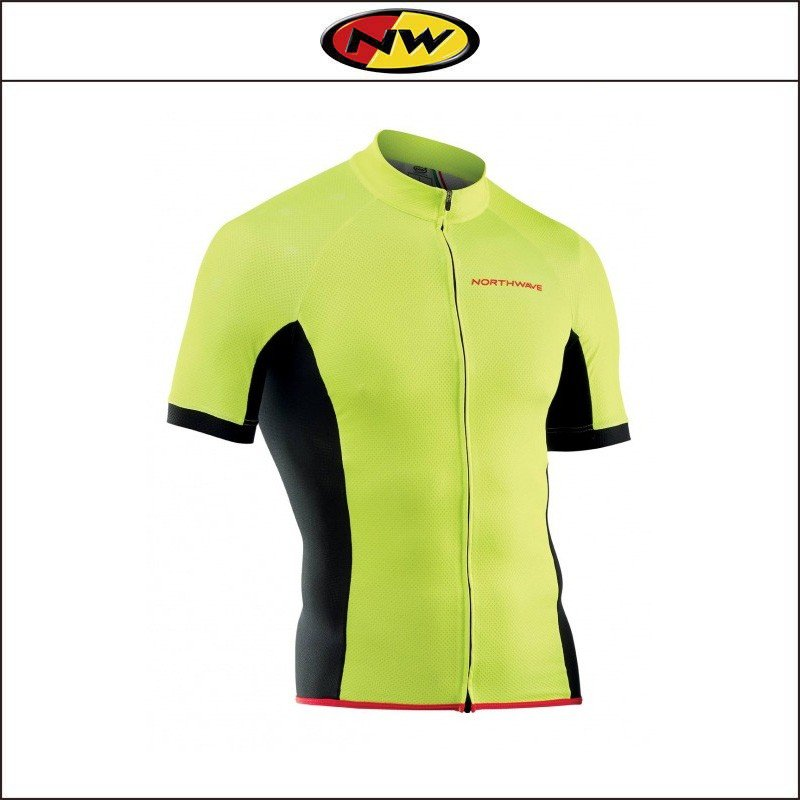 NORTHWAVE/ノースウェーブ  FORCE FULL ZIP JERSEY SHORT SLEEVES  フォース フルジップ ジャージ ショート スリーブ YELLOW FLUO|agbicycle