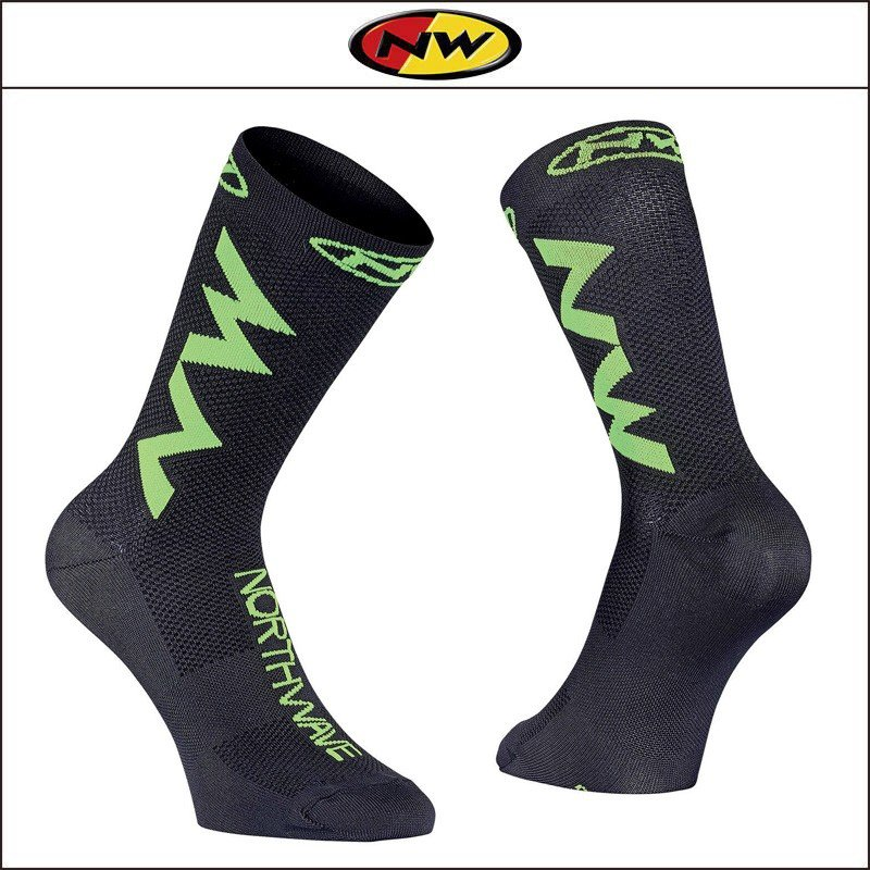 NORTHWAVE/ノースウェーブ  EXTREME AIR SOCKS  エクストリーム エアー ソックス BLACK/LIME FLUO|agbicycle