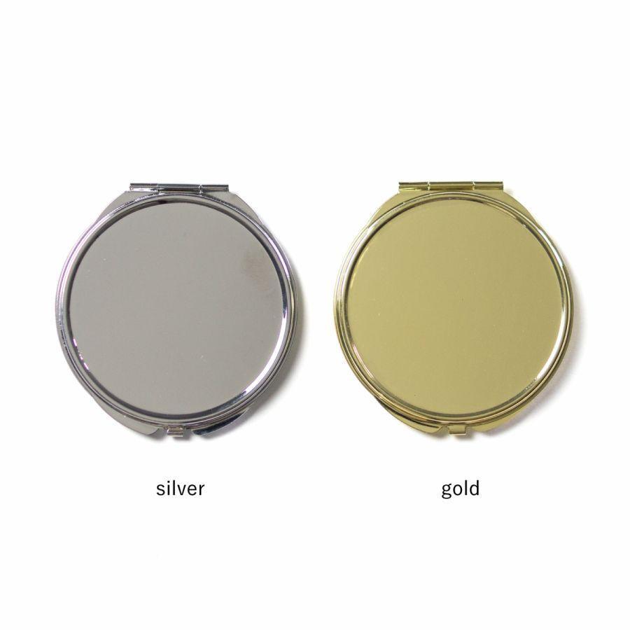 コンパクトミラー 化粧鏡 ダブルミラー 拡大鏡 丸型 くすみ パステル レース 名前入り|agent-n|03