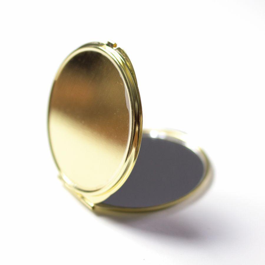 コンパクトミラー 化粧鏡 ダブルミラー 拡大鏡 丸型 くすみ パステル レース 名前入り|agent-n|05