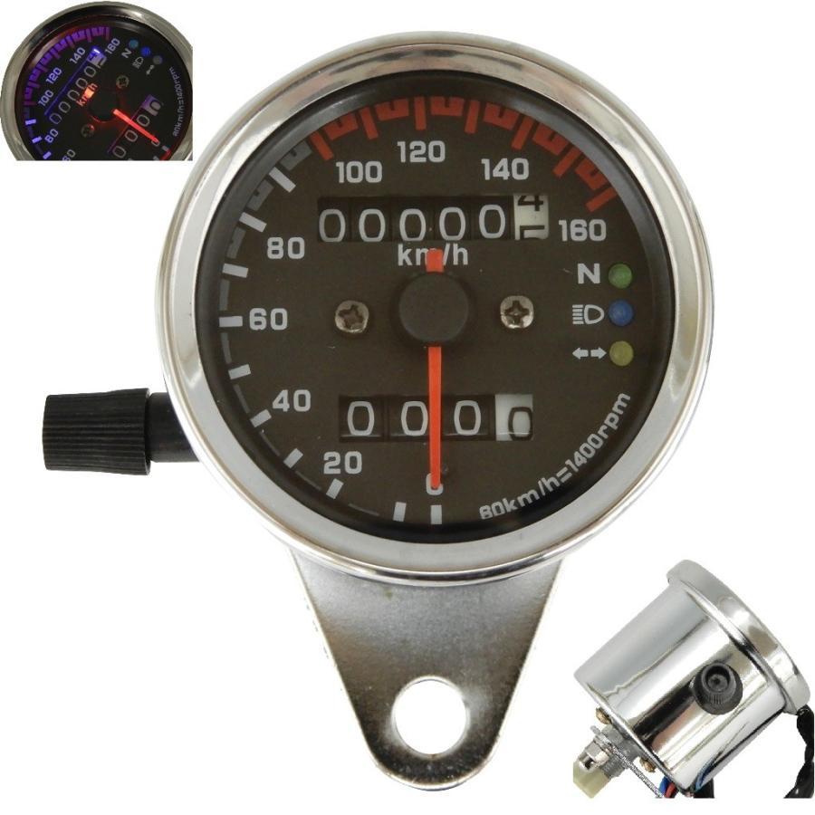 人気ブランド ミニ スピードメーター 機械式 LED バイク ブラック 再入荷/予約販売! シルバー 汎用