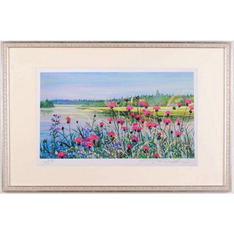 フィンランド 風景画 絵画 北欧 ジークレー 版画 石井清 「湖畔の野アザミ·G」 額付き