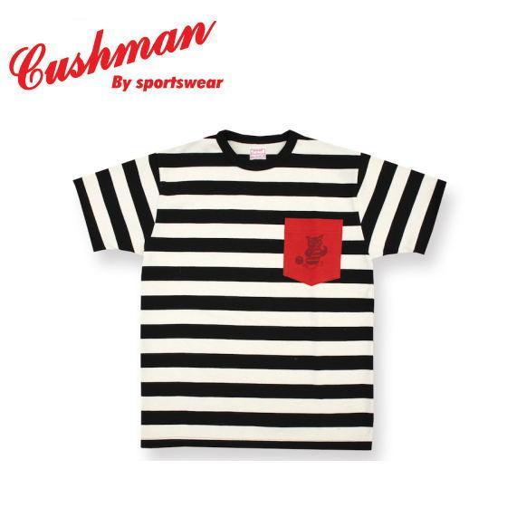 クッシュマン ボーダーTee (JAIL BIRDS)CUSHMAN 半袖Tシャツ コットン100% 26443B|agogo55
