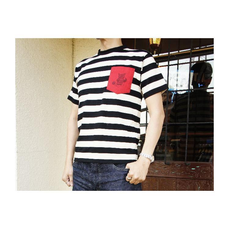 クッシュマン ボーダーTee (JAIL BIRDS)CUSHMAN 半袖Tシャツ コットン100% 26443B|agogo55|04