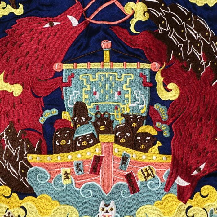 猪奮迅刺繍スカジャン ごちゃふるワールド × SwitchPlanning ジャパネスク  Japanesque メンズ レディース  GFSJ-001|agogo55|04