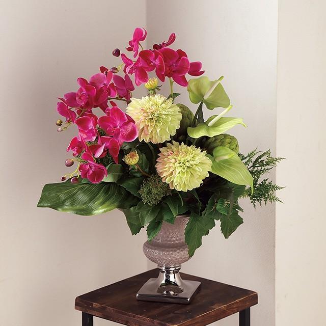 造花 アレンジメント アートフラワー  デザイン アーティフィシャルフラワー 陶器鉢 光触媒造花アレンジ  W50×D43×H60cm