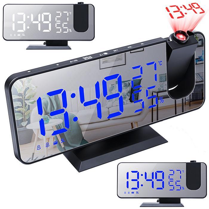 LED 時計 デジタル時計 目覚まし時計 プロジェクターラジオ ミラー 温度 ###時計EN8827-### 湿度 クロック 贈り物 プロジェクション アラーム テレビで話題 投影 多機能ラジオ